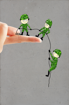 descend: Creative drawing of small soldiers on real human hand helping each other descend down a finger using a rope