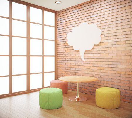 wall cloud: Red brick hipster interior with small coffee table, seats and abstract thought cloud on wall. Mock up, 3D Rendering