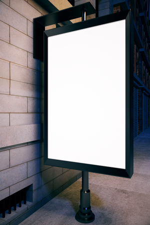 Closeup of blank ad poster outside next to concrete tile building. Mock up, 3D Rendering. Advertisement concept