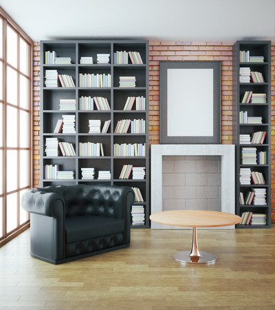 leather sofa: Luxurious library interior with black leather sofa, bookshelves, fireplace, table and blank picture frame on red brick wall. Mock up, 3D Rendering Stock Photo