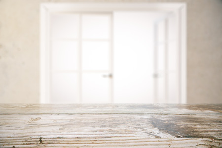 surface aged: Close up of aged wooden surface on window with blurry white view background. Mock up, 3D Rendering