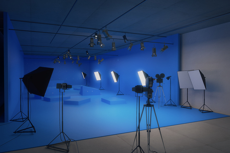 photography session: Modern blue photo studio with old movie cameras. 3D Rendering Stock Photo