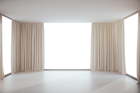 unfurnished: Unfurnished modern interior with curtains and white windows with no view. Mock up, 3D Rendering