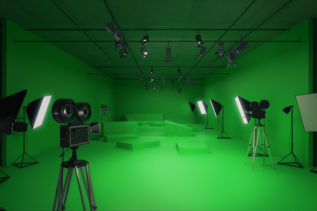 Modern green photo studio with old style movie cameras and professional lighting equipment. Front view, 3D Rendering