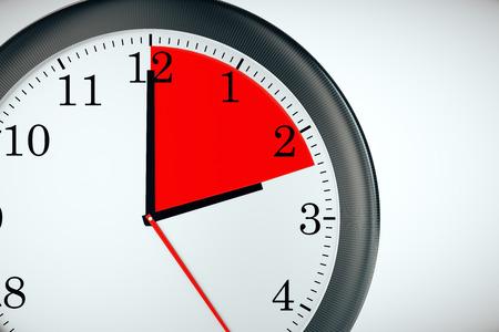 big timer: Closeup of clock with red quarter on light background. Deadline concept. 3D Rendering