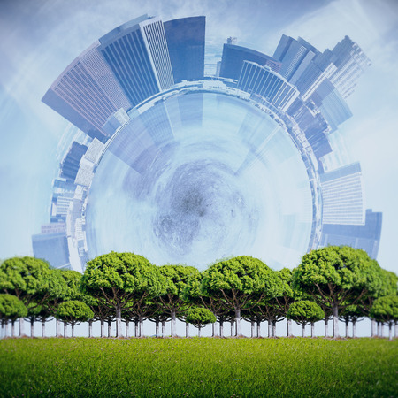 tress: Green tress on abstract city background. Success concept