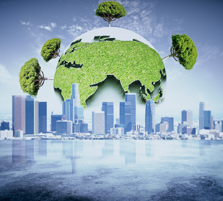 green eco: Abstract globe with green trees on city background. Eco business concept