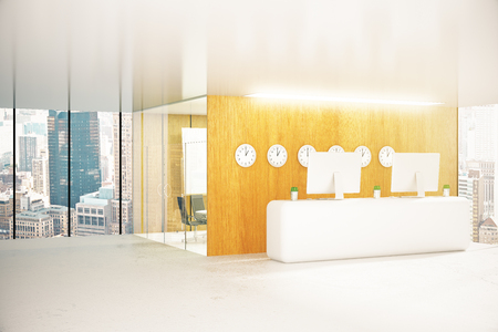 hospital corridor: Modern office reception with city view. 3D Rendering