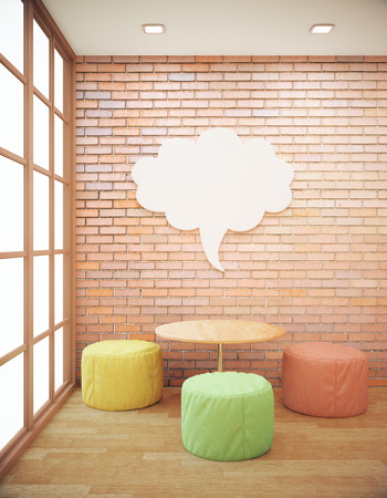 wall cloud: Red brick hipster interior with small coffee table, seats and abstract thought cloud on wall. Side view, Mock up, 3D Rendering