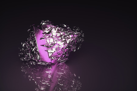 glass reflection: Abstract broken violet glass figure on dark background with reflection. 3D Rendering