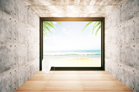 beach window: Concrete interior with wooden floor, small chair and window with beach view. Vacation concept. 3D Rendering