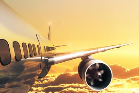 황금 하늘에서 비행기의 닫습니다. 여행 개념입니다. 3D 렌더링