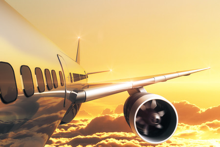 Close up of airplane in golden sky. Travel concept. 3D Rendering