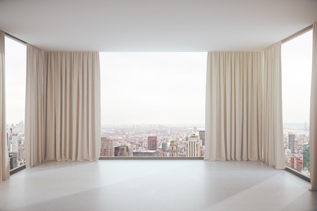 view window: Empty concrete interior with curtains and city view. 3D Rendering