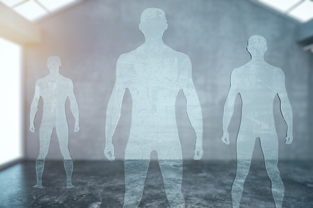 muscly: Three glass male silhouettes in modern interior. 3D Rendering Stock Photo