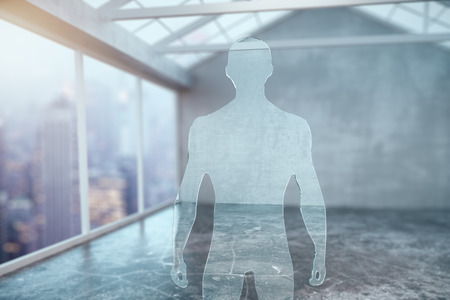 Abstract glass businessperson silhouette in modern interior. 3D Rendering
