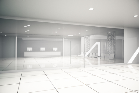 glass partition: Luxurious light business interior with reception, waiting area, glass doors, tile floors and concrete walls. 3D Rendering
