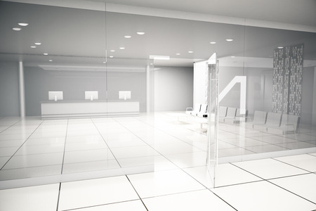 hall monitors: Luxurious light business interior with reception, waiting area, open glass door, tile floors and concrete walls. 3D Rendering
