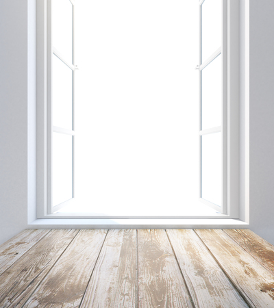 windowsill: Empty wooden sill and window with no view. 3D Rendering
