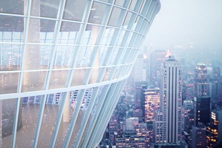 Zie door glazen gebouw van de buitenkant op de nacht stad achtergrond. 3D Rendering