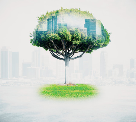 Abstract tree with cityscape on light background. Double exposure