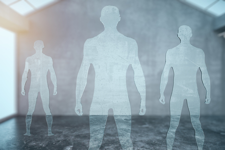 muscly: Three glass men silhouettes in modern interior. 3D Rendering Stock Photo