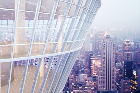 Zie door glazen constructie buitenkant op de achtergrond van de stad. 3D Rendering