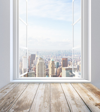 front of house: Empty wooden sill and window with city view. 3D Rendering