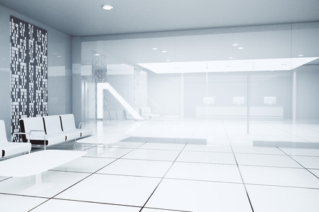 glass ceiling: Luxurious white business interior. Side view. 3D Rendering Stock Photo