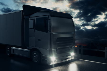 big truck: Big truck on night sky background. Cargo concept. 3D Rendering Stock Photo