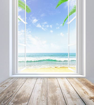 beach window: Empty wooden sill and window with beach view. 3D Rendering Stock Photo
