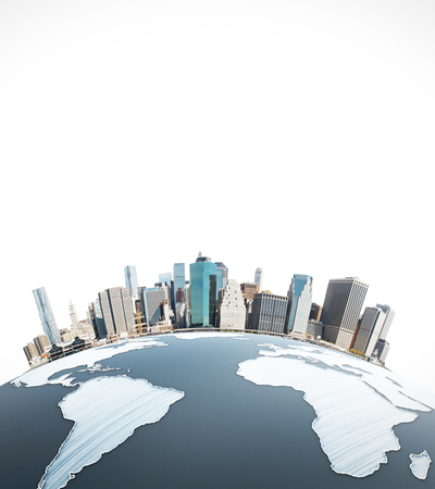 urbanized: Abstract earth with cityscape on white background. Urbanization concept. 3D Rendering