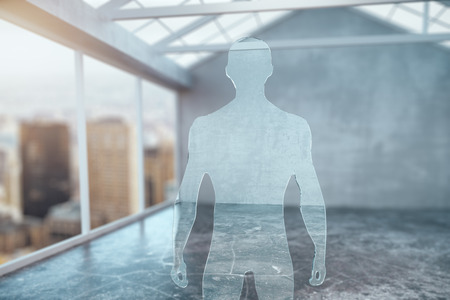 muscly: Abstract glass businessman figure in modern interior. 3D Rendering