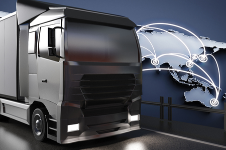 big truck: Side view of big truck on abstract map background. Global transportration concept. 3D Rendering Stock Photo