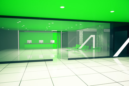 luxurious: Luxurious green business interior. 3D Rendering
