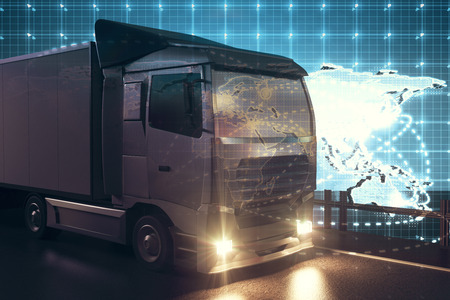 big truck: Big truck on abstract map background. Global transportration concept. 3D Rendering Stock Photo