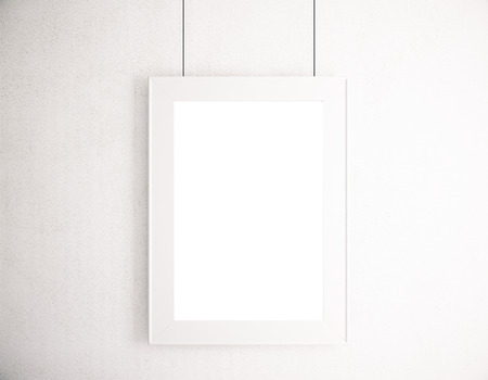 suspended: Blank pictute frame hanging on white wall. Mock up, 3D Rendering Stock Photo