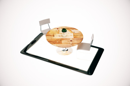 Digital tablet with abstract table and chairs on white background. Order food online concept. 3D Rendering Stock Photo