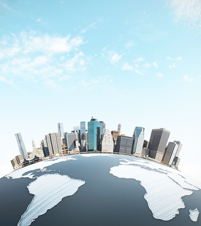 urbanized: Abstract earth with cityscape on sky background. Urbanization concept. 3D Rendering