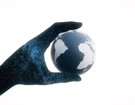 hand holding globe: Abstract space hand holding terrestrial globe on white background. 3D Rendering