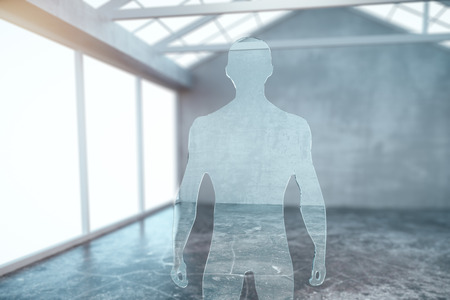 muscly: Abstract glass businessman silhouette in modern interior. 3D Rendering