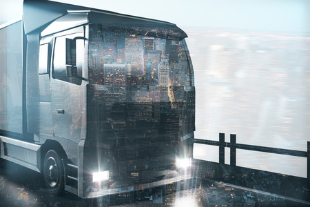 Abstract truck on city background. Shipping concept. Double exposure. 3D Rendering