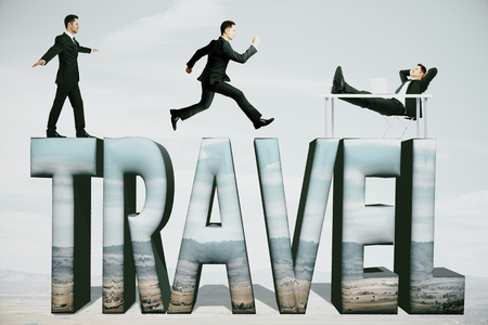 voluminous: Abstract creative travel text and businesspeople on light background Traveling concept
