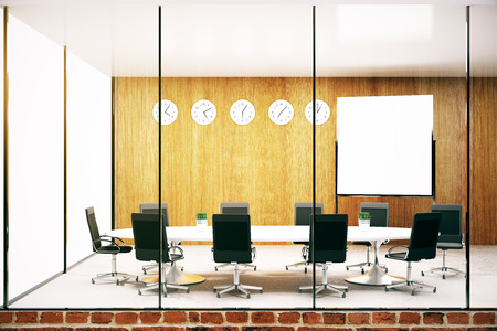 conference room: Modern conference room with blank whiteboard. Mock up, 3D Rendering
