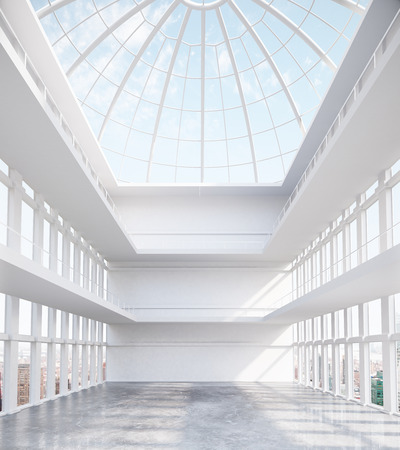 glass ceiling: Unfurnished spacious concrete interior with round glass ceiling and city view. 3D Rendering
