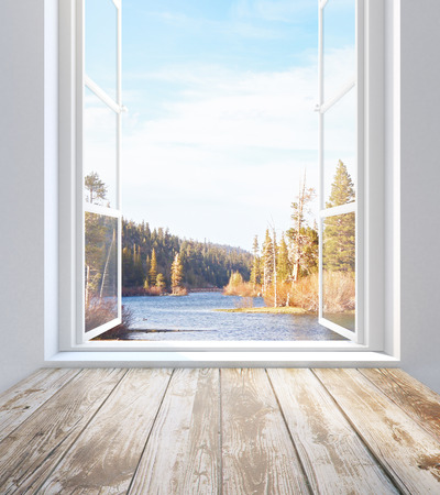 Empty wooden sill and window with auntumn landscape view. 3D Rendering