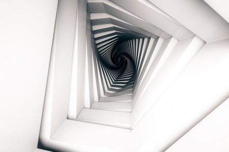 끝에서 빛을 가진 추상 무늬 터널입니다. 3D 렌더링