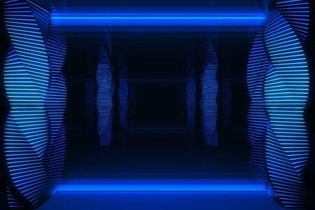 Abstract dark blue digital futuristic interior. 3D Rendering