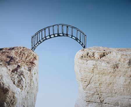 Abstract bridge sketch leading from cliff to cliff Stockfoto