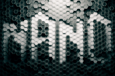 voluminous: Creative grey nano hexagon pattern. Background or wallpaper. 3D Rendering